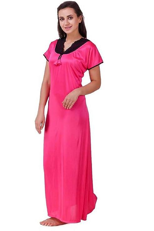 Diljeet® Women Girls Beautiful Satin Rani(Pink) Nighty Off-White Nighty Night  Dress Combo Black Lace (Free Size Large Extra Large Medium)  Amazon.in  ... 69238b7f6