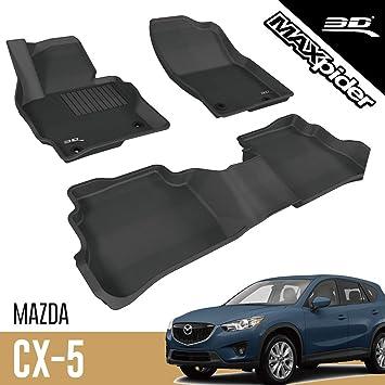 Amazon Com 3d Maxpider L1mz03801509 All Weather Floor Mats For Mazda Cx 5 Cx5 2013 2014 2015 2016 Custom Fit Car Floor Liners Kagu Series 1st 2nd Row Black Automotive