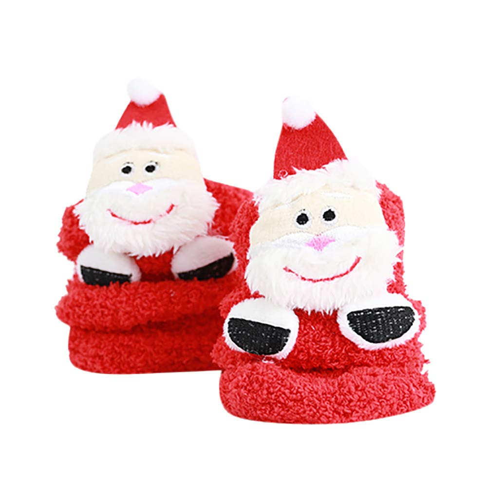 Newborn Baby Boys Girls Christmas Floor Socks Anti-Slip Toddler Kids Warm Socks