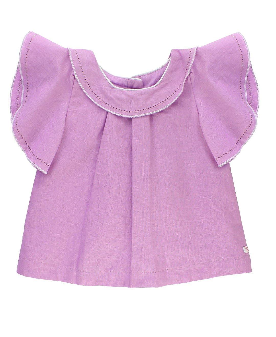 RuffleButts Baby/Toddler Girls Flowy Linen Top w/Flutter Sleeves TTWLLXX-FL00-BABY