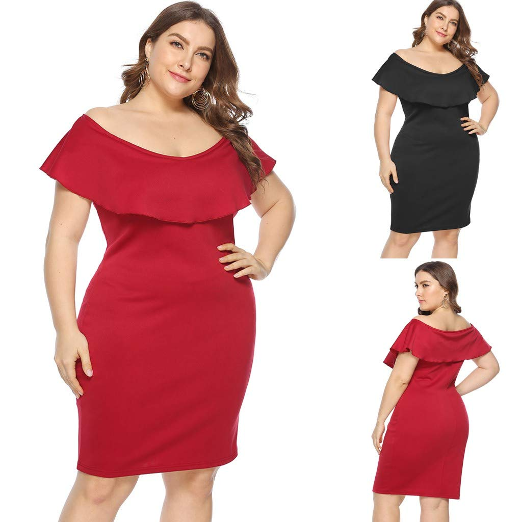 ZOMUSAR 2019 Women Plus Size Sexy Cold Shoulder Dress Solid Ruffle Pleated Mini Dress Red by ZOMUSAR (Image #6)