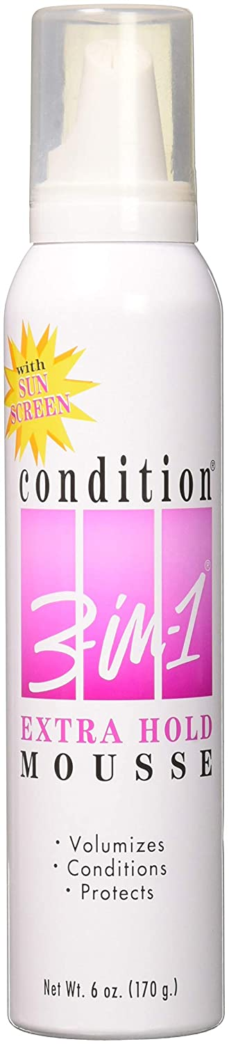 Condition 3-In-1 Mousse Extra Hold with Sunscreen, 6 Ounce