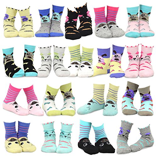 TeeHee Kids Girls Fashion Cotton Fun Crew 18 Pair Pack Gift Box (9-10Y, Cat-Dog-Pig Face)
