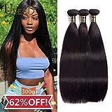 Uneed Hair 8A paquetes de cabello lacio (20 22 24,300gram) paquetes de cabello brasileño paquete de cabello virgen ofertas paquetes de cabello humano recto extensión del cabello humano color natural