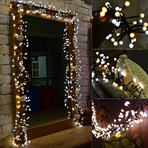 LED String Lights,9.8ft 400 LED Waterproof Decorative Fairy Light,Indoor Outdoor Decoration DIY Vine Lights for Christmas/Halloween/Wedding/Party/Bistro/Cafe/Garden/Patio,White & Warm White ()