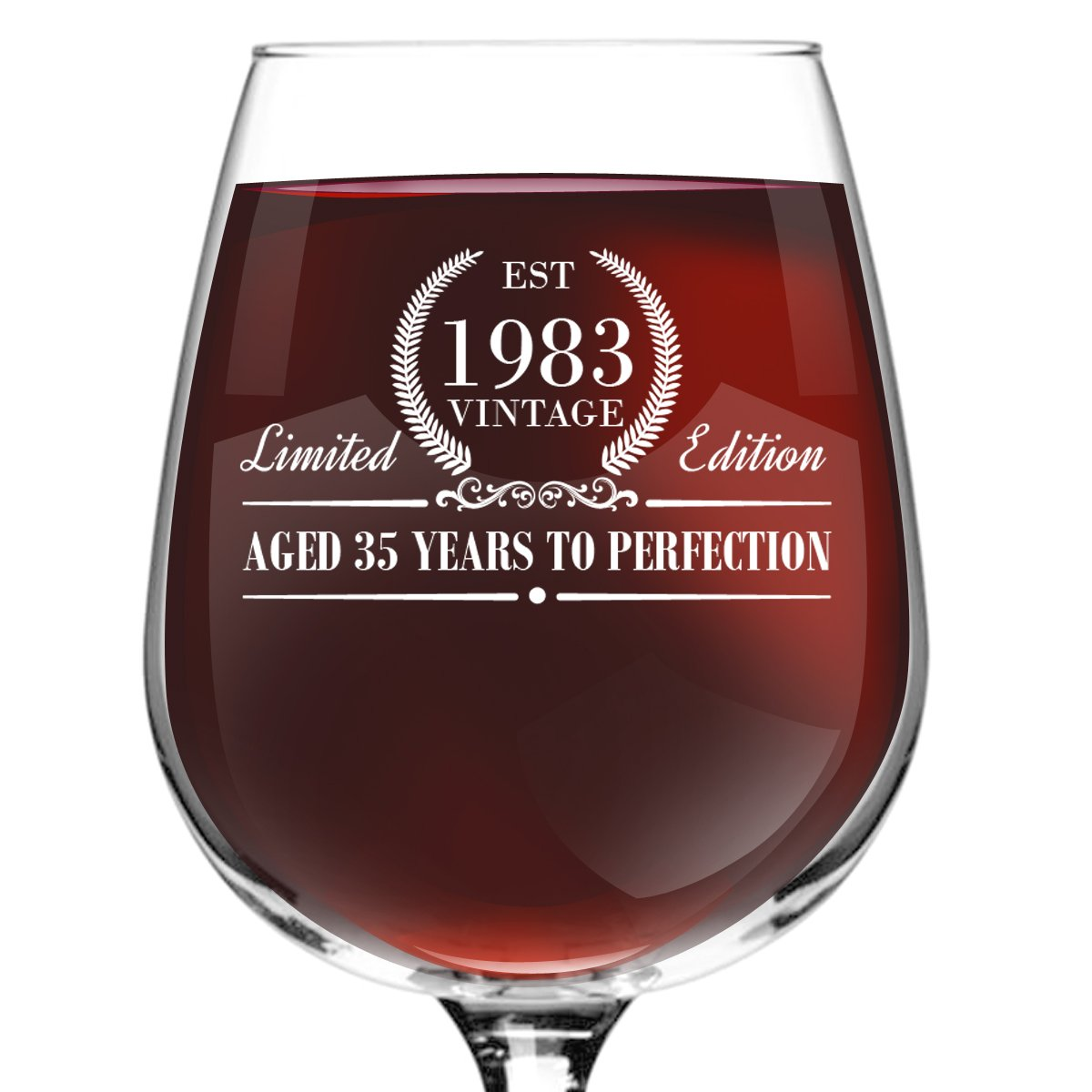 1983 Vintage Edition Birthday Wine Glass for Men and Women (35th Anniversary) 12 oz, Elegant Happy Birthday Wine Glasses for Red or White Wine | Classic Birthday Gift, Reunion Gift for Him or Her by DU VINO (Image #2)