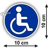 Sticker Autocollant Handicap Handicapé Rond Bleu 10x10 cm