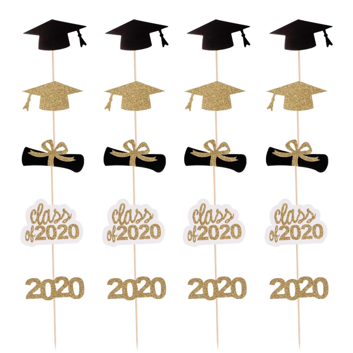 Amosfun 30pcs 2020 Graduation Cake Toppers Glitter Graduation Cap Cupcake Toppers Cake Picks 2020 Congrats Party Decorations for Graduation Birthday Party Supplies