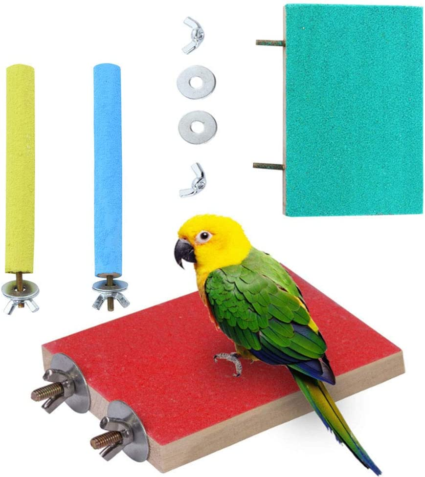 4 Pieces of 4 Color Bird and Parrot roosting Platform, Biting and Foot Grinding Toy Set, Lizard Climbing, Frosted Springboard, Pole Set (2 roosting Platforms + 2 Standing Sticks)