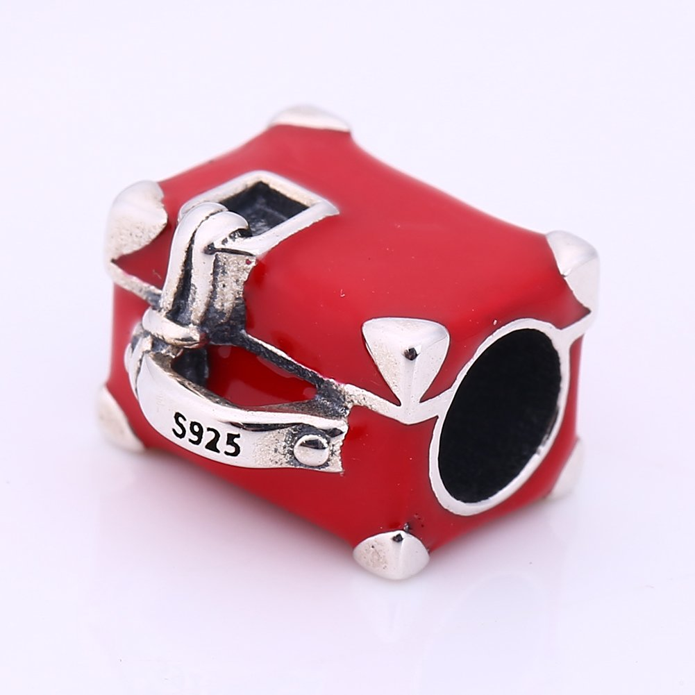 Breloque en argent sterling/925 et forme de valise en /émail rouge pour bracelets f/éminins