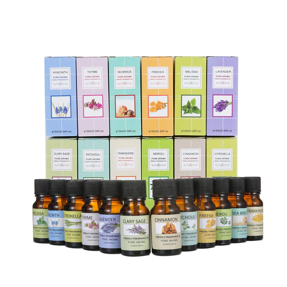 Jinjin Aromatherapy Essential Oils Gift, (Freesia,Patchouli,Thyme,Orange Flower,Hyacinth,Lemongrass,Sea Breeze,Mastic,Lemon Balm,Lavender,Sage,Cinnamon) (A)