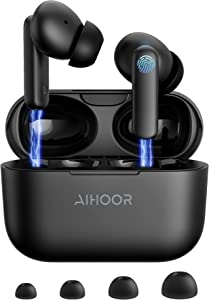 AIHOOR Wireless Earbuds, Bluetooth 5.0 in-Ear Headphones with Charging Case, Built in Mic Earphones, Touch Control, Deep Bass Music TWS for iPhone and Android, 30 Hours Playtime Waterproof for Sports