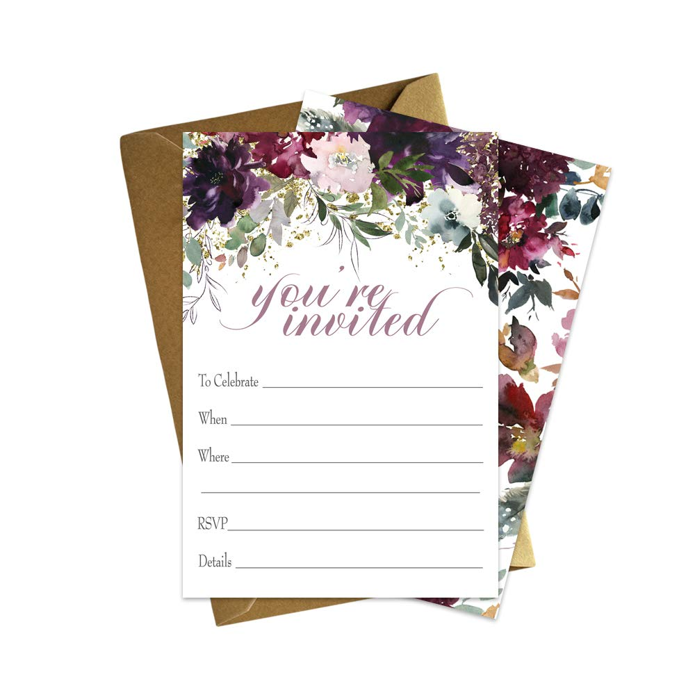 Shabby Floral Invitation and Envelopes for Birthday Party, Wedding, Baby Shower, etc. | Set of 15