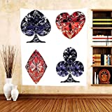 Gzhihine Custom tapestry Diamond Decor Collection Diamond Shaped Cards Poker Face Luxury Fortune Symbols Sapphire Decorative Decor Bedroom Living Room Dorm Tapestry Dark Blue Red