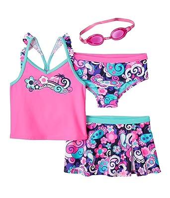 145753f3bab83 Amazon.com: ZeroXposur Little Girls 3-pc Tsunami Tankini Swimsuit & Skirt  Set, Barbie (5/6): Clothing