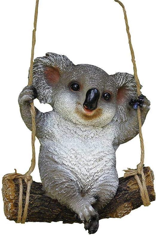 Helay Estatua de jardín de Animales, Osito de Koala con Columpio, decoración Divertida para Exteriores, estatuas para Interiores y Exteriores, Figuras de Arte para Patio y jardín: Amazon.es: Jardín