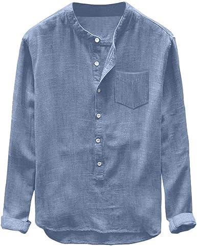 Camisetas Hombre Manga Larga Moda Camisas Casual para Hombre Tops de Manga Larga para Hombre Blusas Hombre Manga Larga Camisa de Color sólido Camisas Hombre Manga Larga algodón y Lino: Amazon.es: Ropa