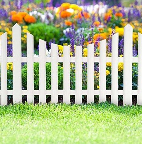 3 Piece White Picket Fence Garden Grass Lawn Border Edging Fencing