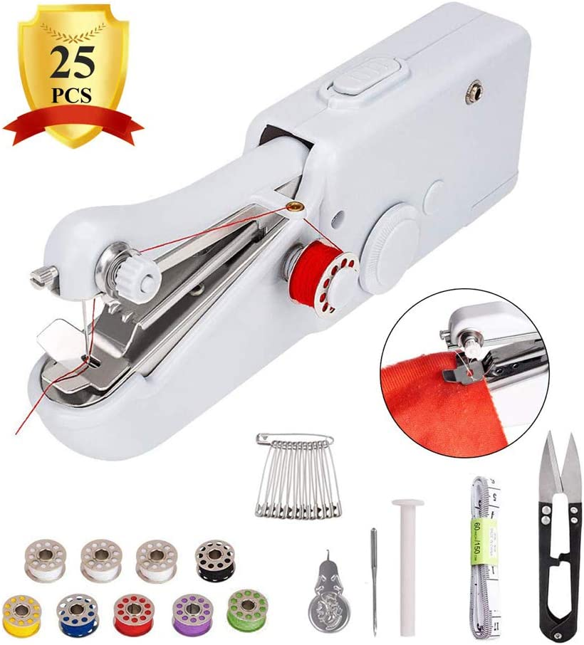 Mini Cordless Portable Electric Sewing Machine Handheld Sewing Machine Home Handy Stitch for Clothes Quick Repairing with 24 Accessories