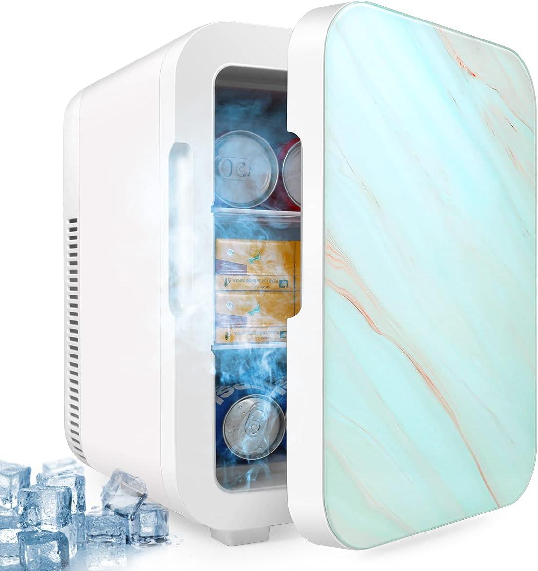 10L Mini Fridge, Portable Freezer, Large Capacity Compact Cooler and Warmer with Control Temperature, Single Door Mini Fridge Freezer for Cars, Road Trips, Homes