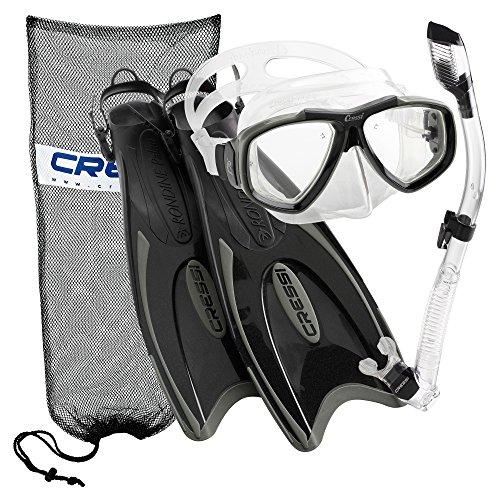 Cressi Palau Long Fins  Focus Mask  Dry Snorkel  Snorkeling Gear Package  Tt Ml