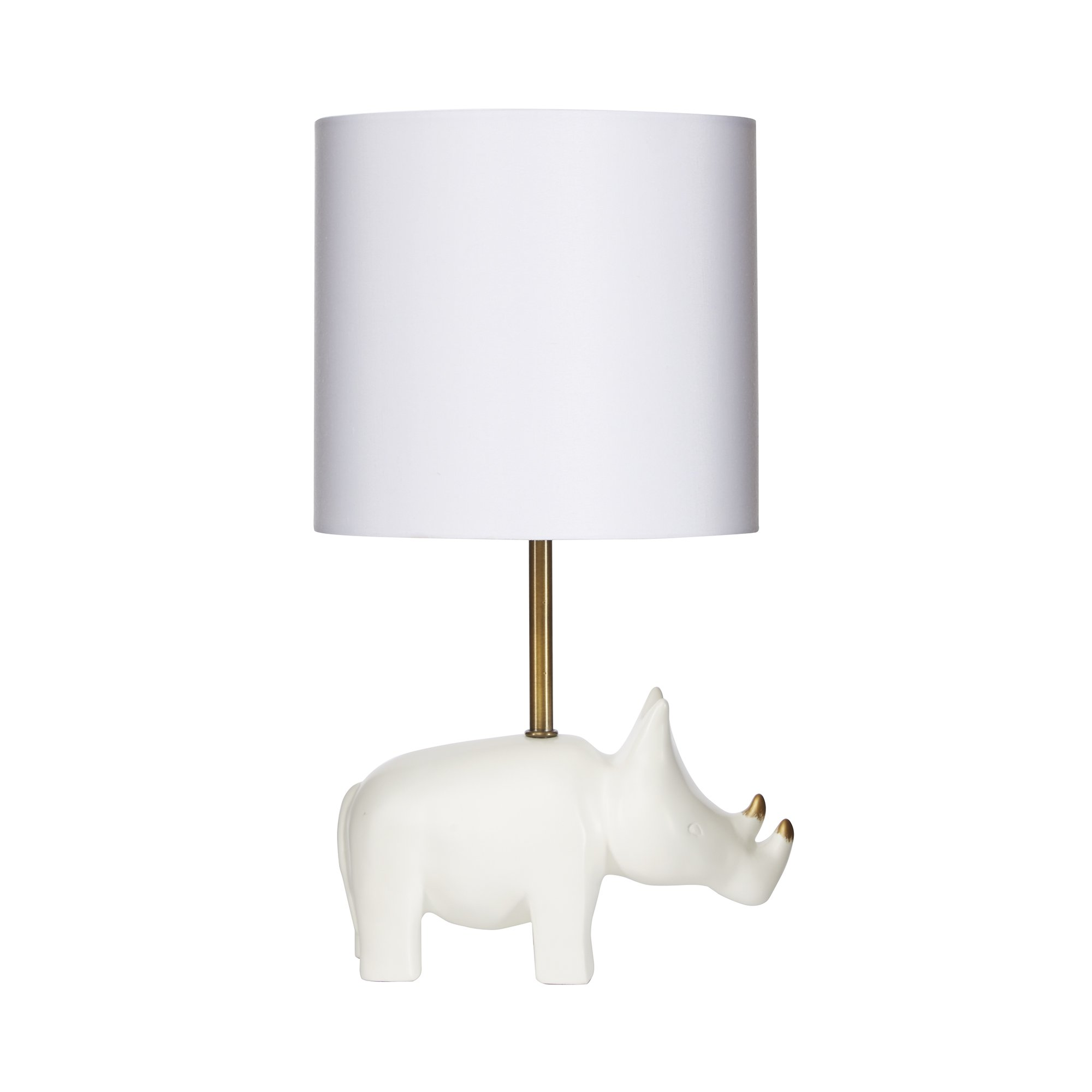 Silverwood CPLT1525 Gold Accented Rhino Resin Table Lamp, 16'' H, White