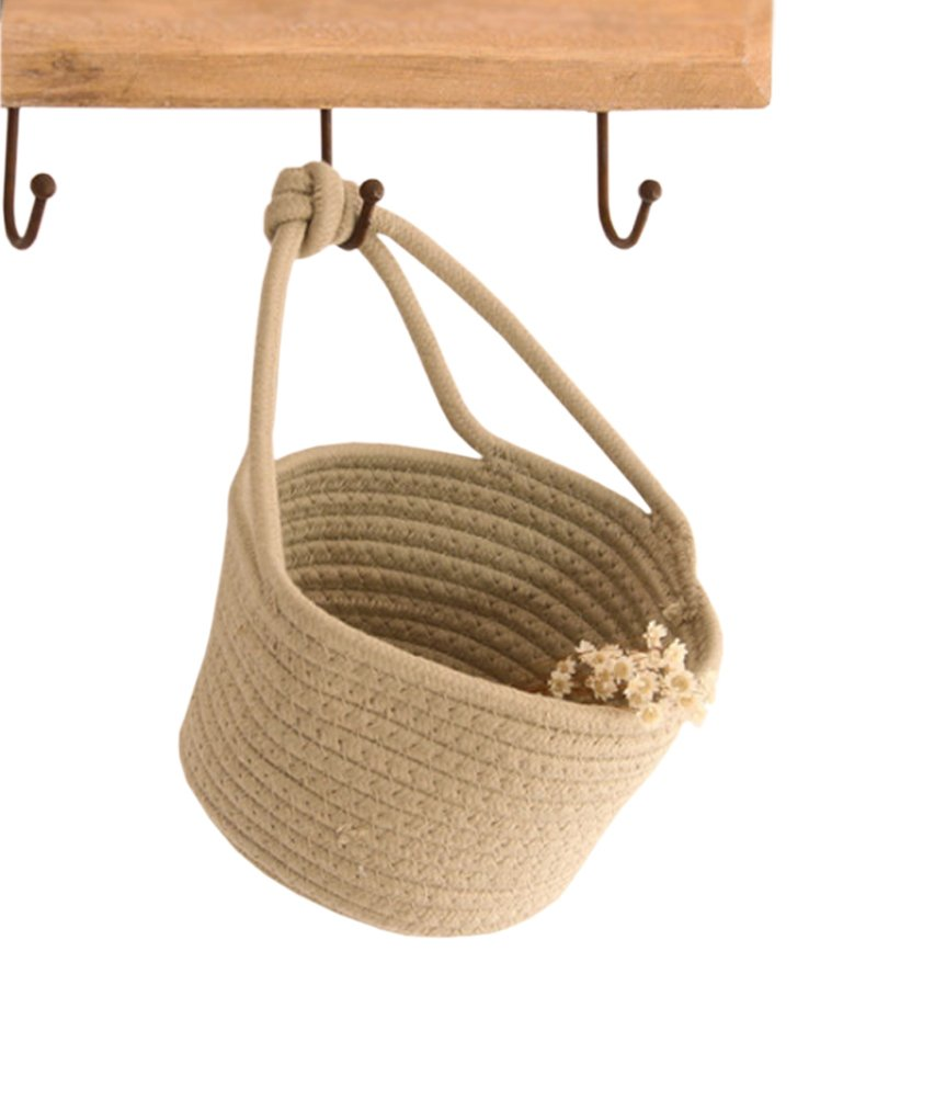 Cotton Rope Storage Baskets Wall Hanging Storage Bins Small Woven Organizer for Bedroom, Closet, Office, Kids Toys, Nursery from Lesirit (Beige)