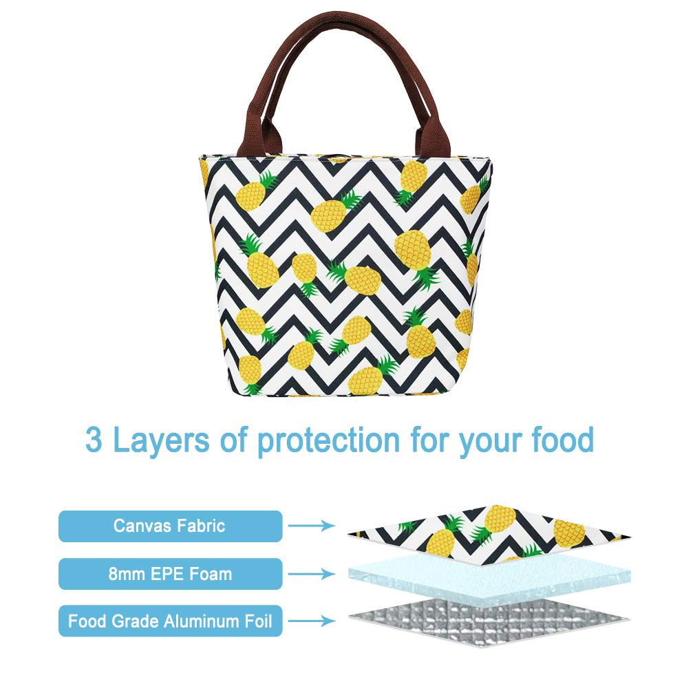 df29613262e7 Pineapple Lunch Bag for Women Insulated Lunchbox Cooler Bag Lunch Tote Bag  for Work/Beach/Office/Picnic