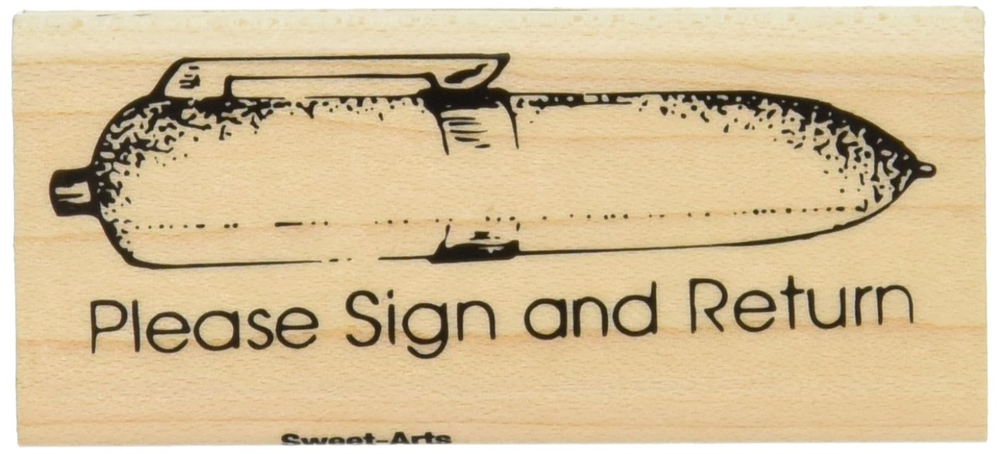 Center Enterprise B218'Please Sign and Return Fat Pen' Maple Wood Stamp Center Enterprises Inc.