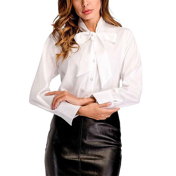 Pajarita Cuello Blanco Camisa Mujer Tops Moda Primavera Damas Elegante Trabajo de Oficina Camisa de Manga Larga Blusa: Amazon.es: Ropa y accesorios
