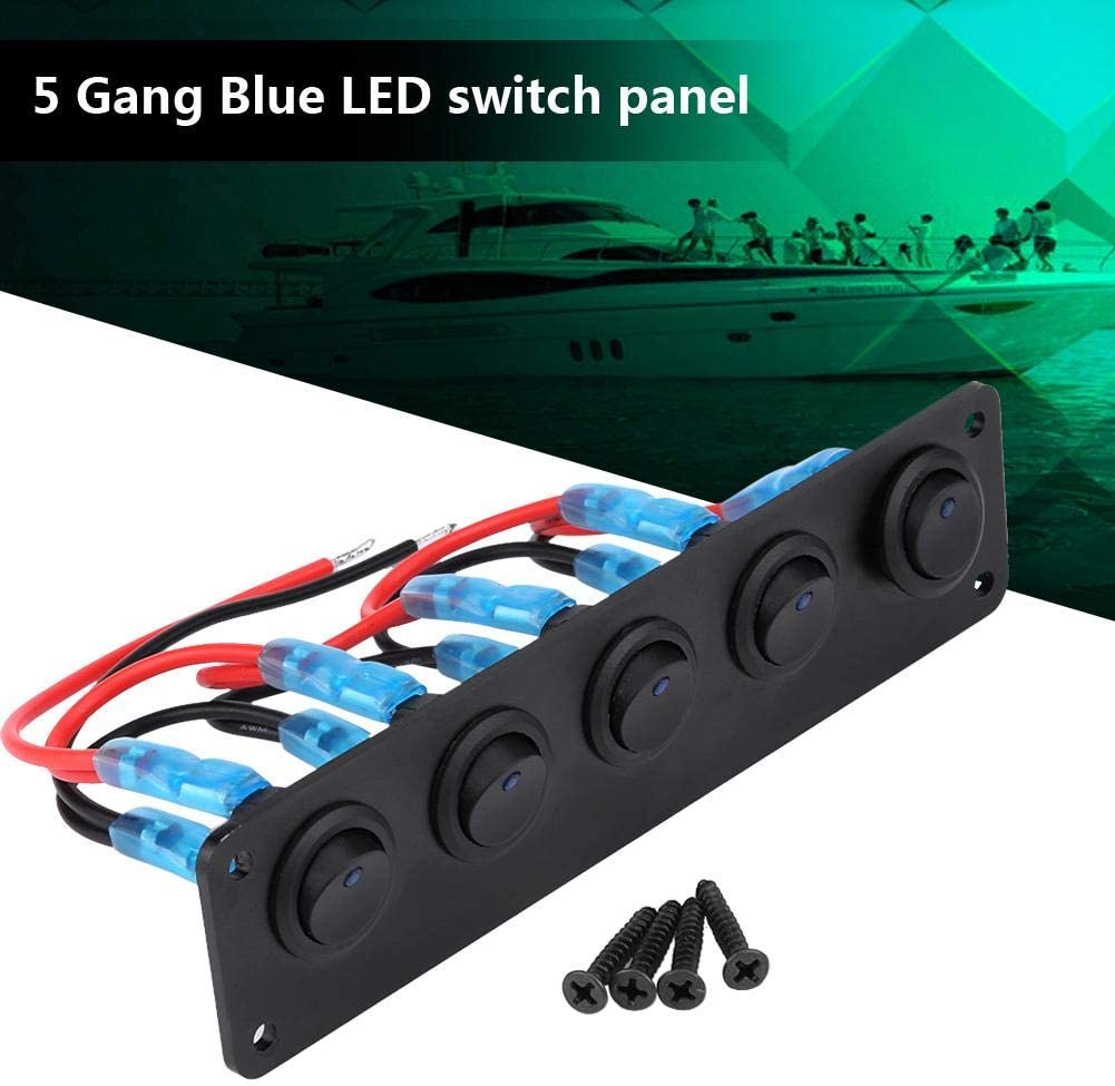 Keenso 12-24V 5 Gang Rocker Switch Panel Round Dash Blue LED Light Bar Switch Panel Waterproof Professional Design for Car RV Boat Yacht Marine Easy Installation