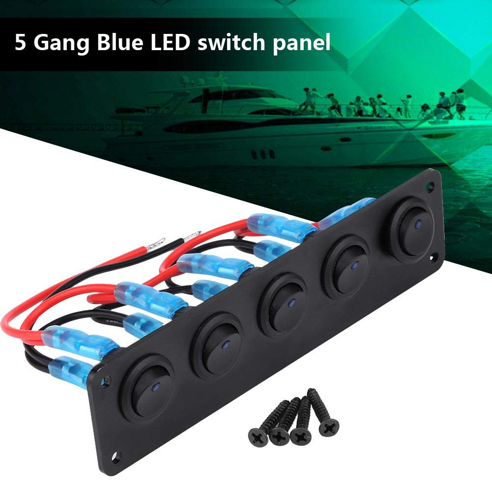 Toggle Switch Panel,12-24V 5 Gang Round Dash Rocker Toggle Switch Panel Blue LED for Boat Yacht Marine