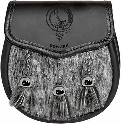 Hopkirk Semi Dress Sporran Fur Plain Leather Flap Scottish Clan Crest