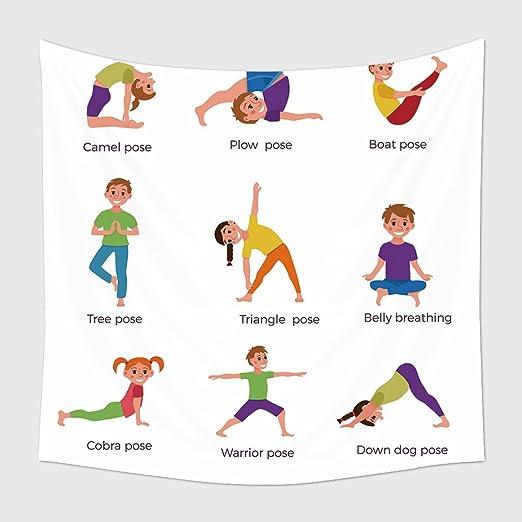 Decoración para el hogar Tapiz colgar en la pared Yoga Poses ...