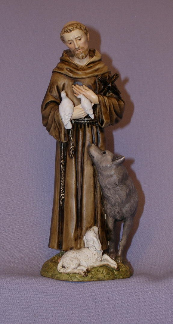 St. Francis with animals in hand-painted alabaster, 6 inches. Also available in all white. Made in Italy.
