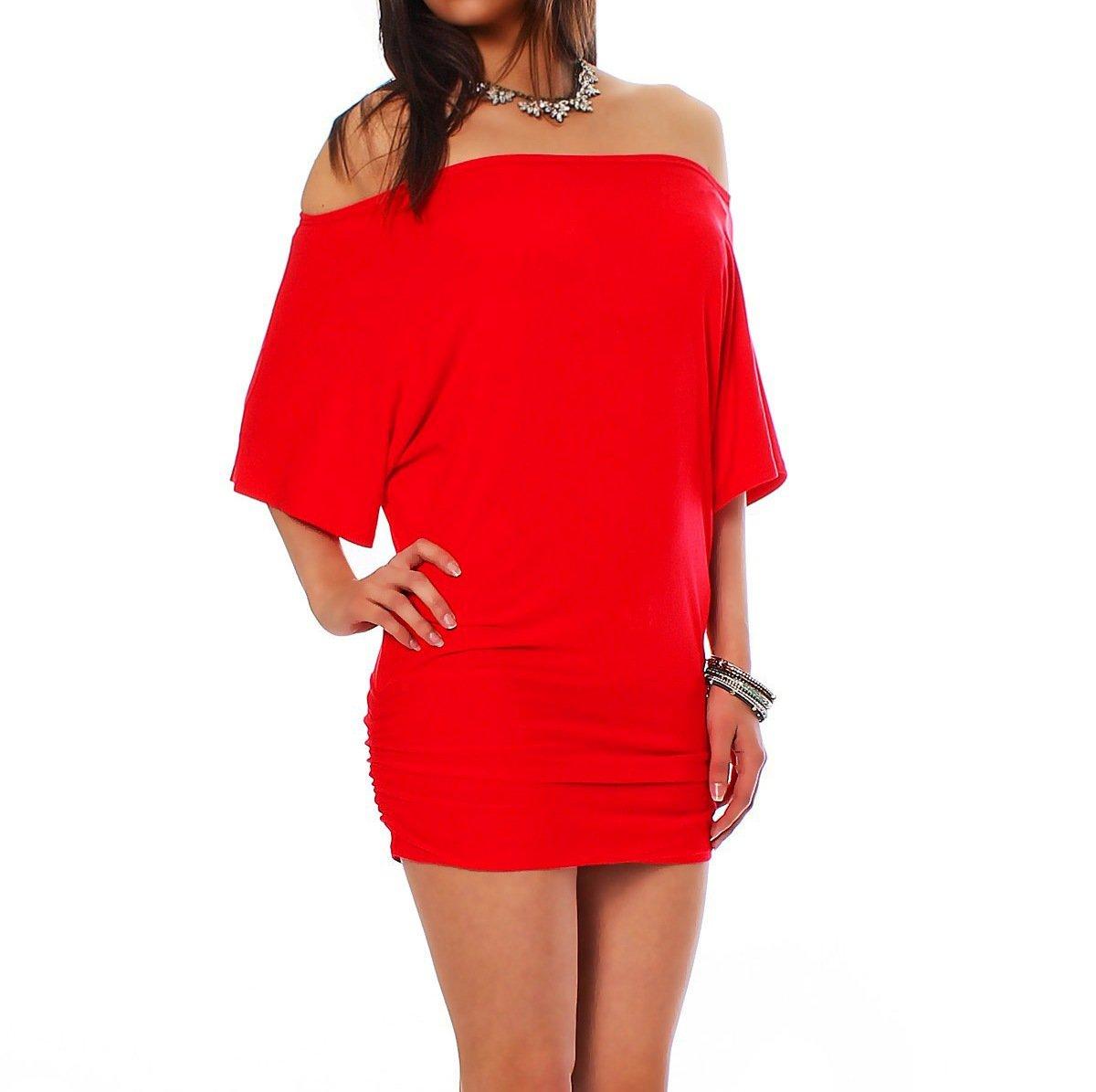 Mississhop Damen Shirt Bluse Sommer Sommershirt Carmenbluse Longshirt Tunika Bluse Pullover T-Shirt Tank Top Minikleid