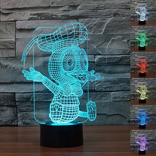 SUPERNIUDB 3D Catoon Duck Night Light 7 Color Change LED Table Lamp Xmas Toy Gift