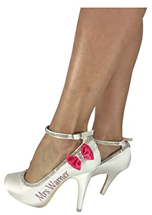 Bridal High Heels with Hot Pink Bows, Satin - choose Colors Rhinestone Strap, Personalize with Name