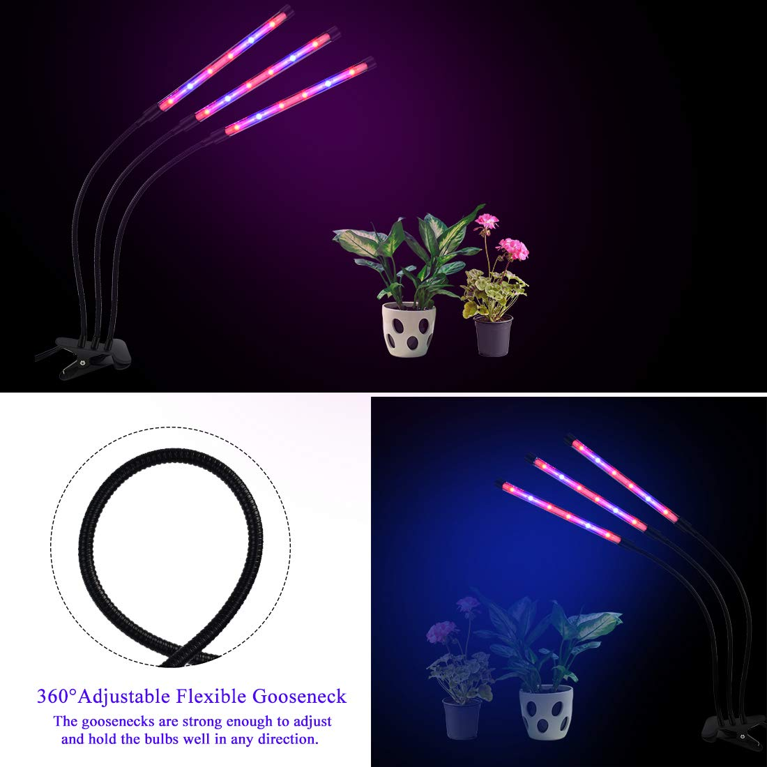 KKTOP 36W Grow Light, 3 Head Grow Light Auto-Control ON/Off 4/8/12h Timing Modes 8 Dimmable Levels Growing Lamp for Indoor Plants, Hydroponics, Greenhouse, Gardening, Office