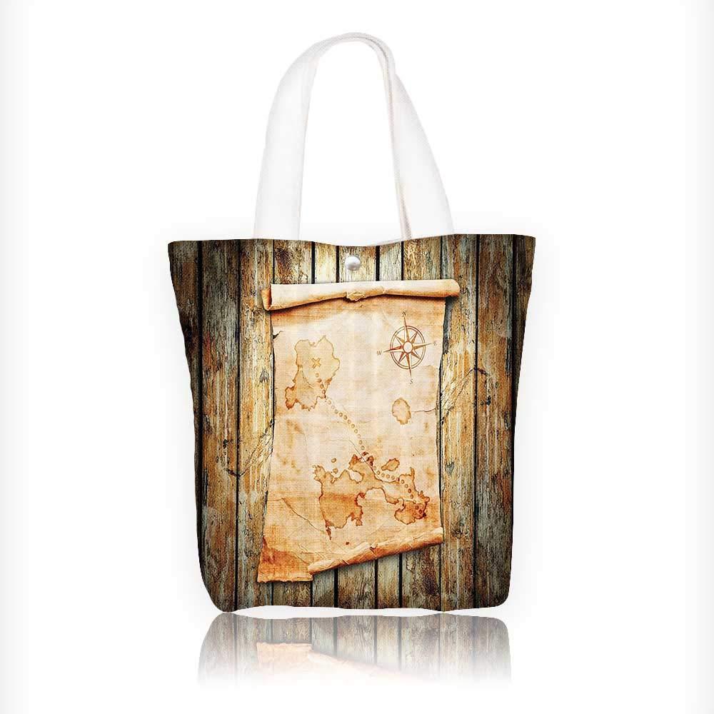 Bolsa de lona con diseño de mapa del tesoro y piratas rústicos ...