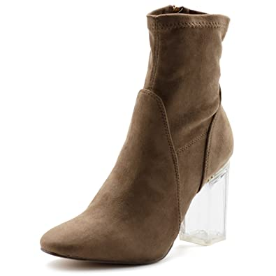 a2e4b8831a Ollio Women's Shoe Stetch Faux Suede Side Zip Up Clear High Heel Ankle Boots  MG50(