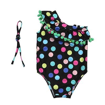 Anyren One-Piece Dot Swimsuit, Baby Girl Sleeveless Swimwear Bathing Bikini Set