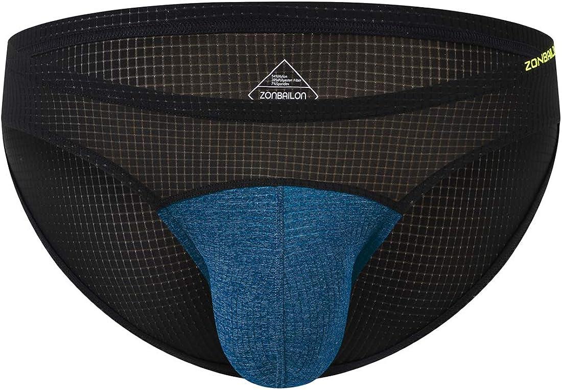 Mens See Through Briefs Mesh Man Bulge Gift T-back Underwear Thongs S M L XL