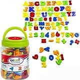 SMUER マグネットアルファベット 磁気 知育玩具 カラーマグネット 幼児 子供 数学の数 英語 教育 おもちゃ 収納箱付き 78ピース