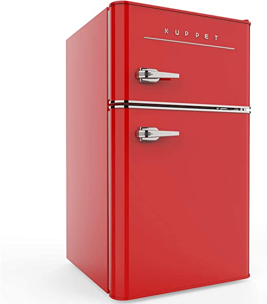 Garage Basement or Office,3.2 Cu.Ft Camper KUPPET Retro Mini Fridge Compact Refrigerator with Covered Chiller Compartment for Dorm Blue