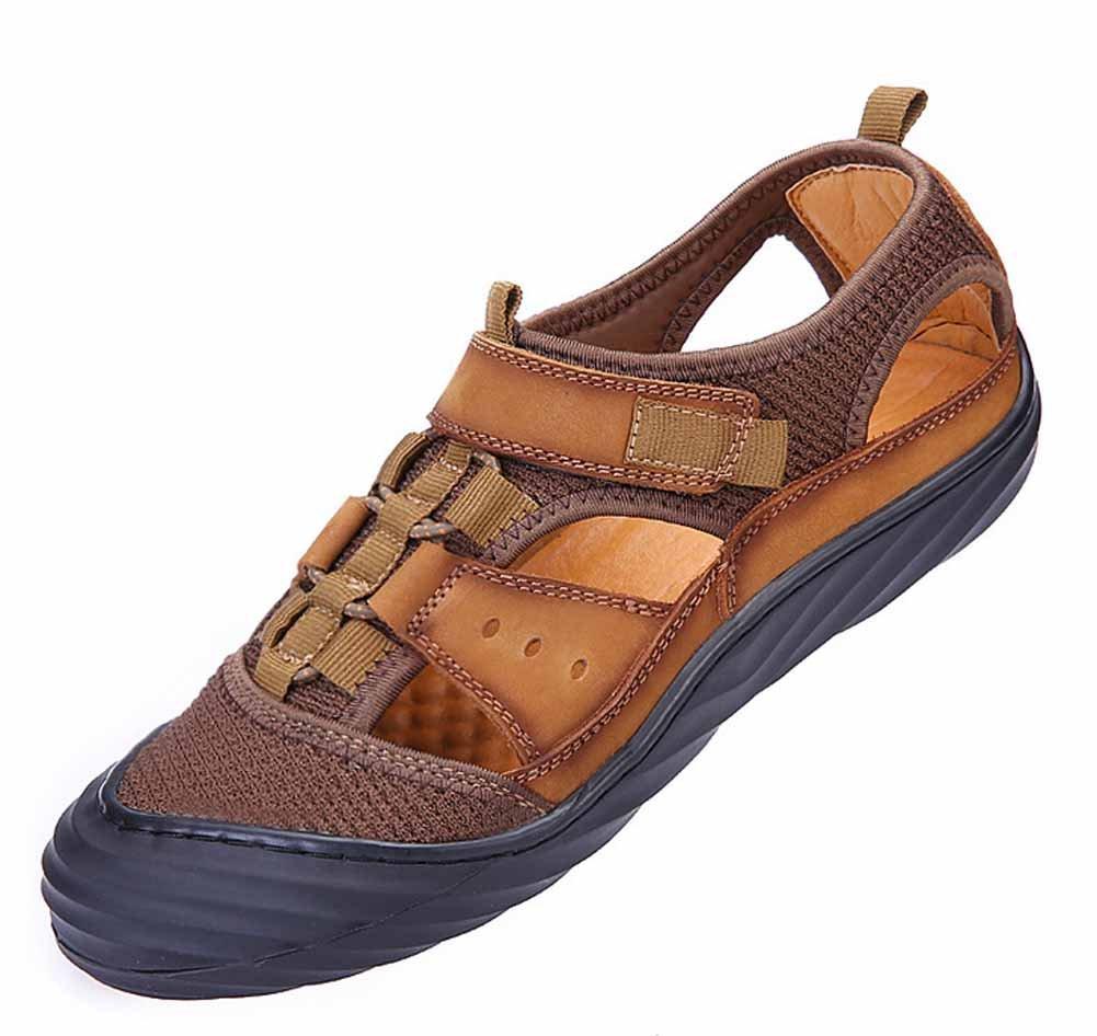 GLSHI Männer Geschlossen Zehe Sandalen 2018 Sommer Neue Leder Sport Strand Schuhe Breathable Casual Schuhe