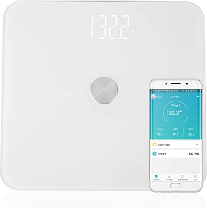 Amazon Com Mvpower Bluetooth Body Fat Scale Smart Bmi Digital Bathroom Wireless Weight Scale With Ito Conductive Glass Body Composition Analyzer With Smartphone App 400 Lb Batteries Included Health Personal Care