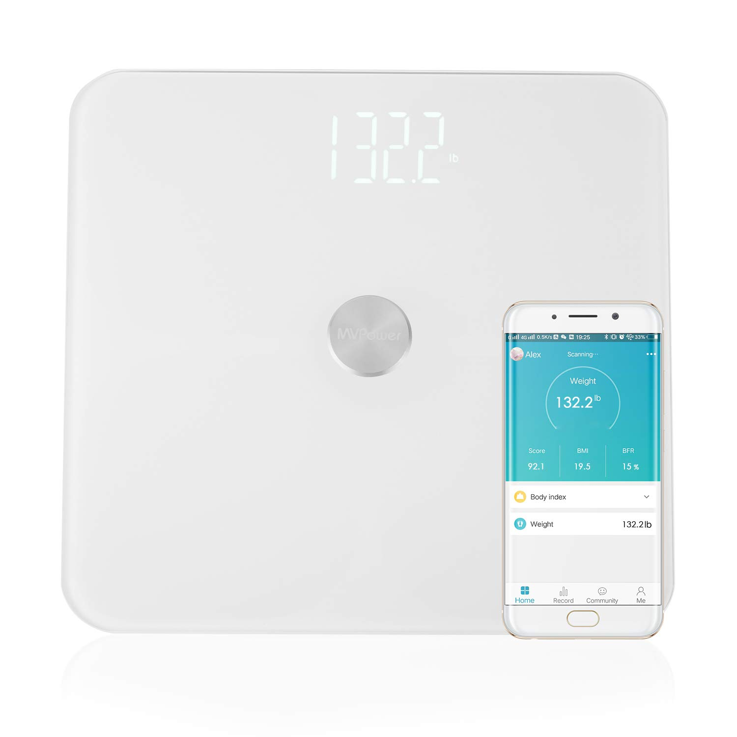 MVPower Bluetooth Body Fat Scale-Smart BMI Digital Bathroom Wireless Weight Scale with ITO Conductive Glass,Body Composition Analyzer with Smartphone App, 400 lb(Batteries Included)