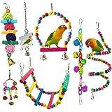 Pájaro Del Loro Juguetes, Colgantes De Bell Mascotas Jaula De Pájaros Hamaca Columpio Subir Escaleras Juguete De Madera…
