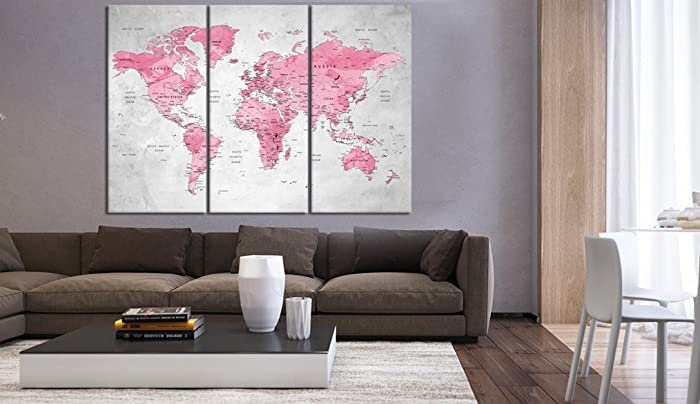 Amazon multi panel push pin world map canvas print rose gold multi panel push pin world map canvas print rose gold world map print framed gumiabroncs Choice Image